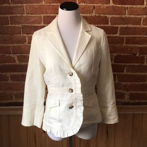Anthropologie Hei Hei Linen Cotton Ruffle Jacket
